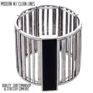 Sculptural & Modern Black Bar Stretch Cuff,NWT